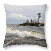 Clearing Storm Over Lake Superior Throw Pillow