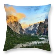 Clearing Storm - View Of Yosemite National Park From Tunnel View. Throw Pillow