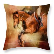 Clearing The Jump Equestrian Art Throw Pillow