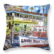 Clearwater Florida Boat Painting Throw Pillow
