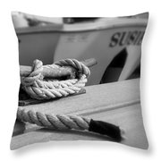 Cleat Hitch Boat Art Throw Pillow