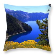 Cleetwood Cove At Crater Lake Throw Pillow