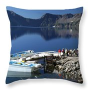 Cleetwood Cove Tour Boat Visitors, Crater Lake National Park, Oregon Throw Pillow