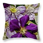 Purple Clematis Flower Vines Throw Pillow