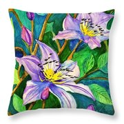 Clematis For Elsie Throw Pillow