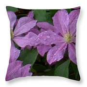 Clematis In The Rain Throw Pillow