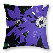 Clematis Jackmanii Throw Pillow