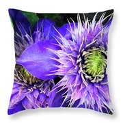 Clematis Multi Blue Throw Pillow