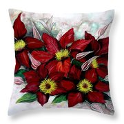 Clematis Niobe Throw Pillow