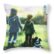 Clemson Kids Big Sister Little Brother Throw Pillow