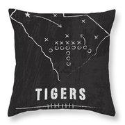 Clemson Tigers / Ncaa College Football Art / South Carolina Throw Pillow by Damon Gray