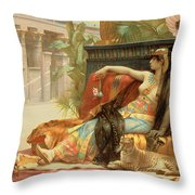Cleopatra Testing Poisons On Those Condemned To Death Throw Pillow by Alexandre Cabanel