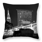 Cleveland Black And White Panoramic Throw Pillow