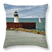 Cleveland Harbor Small Lighthouse Throw Pillow