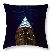 Cleveland Key Building With Electricity Throw Pillow