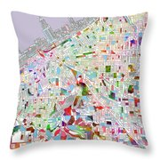 Cleveland Map 2 Throw Pillow