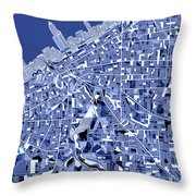 Cleveland Map Blue Throw Pillow