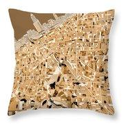 Cleveland Map Sepia Throw Pillow