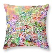 Cleveland Map Watercolor 2 Throw Pillow
