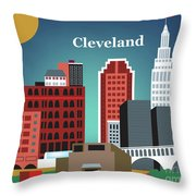 Cleveland Ohio Horizontal Skyline Throw Pillow