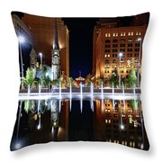 Cleveland Public Square Fountains Throw Pillow