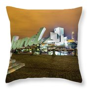 Cleveland Sign At Voinovich Park Throw Pillow