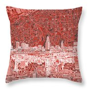 Cleveland Skyline Abstract 10 Throw Pillow