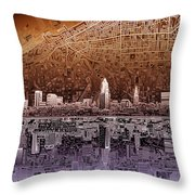 Cleveland Skyline Abstract 2 Throw Pillow