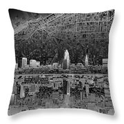 Cleveland Skyline Abstract 3 Throw Pillow