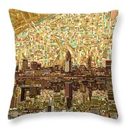 Cleveland Skyline Abstract 6 Throw Pillow