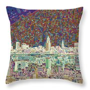 Cleveland Skyline Abstract 8 Throw Pillow
