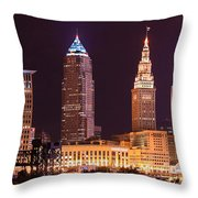Cleveland Skyline Night Color - Downtown Buildings Throw Pillow