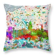 Cleveland Skyline Watercolor 2 Throw Pillow