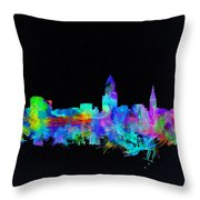 Cleveland Skyline Watercolor 3 Throw Pillow
