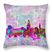 Cleveland Skyline Watercolor Throw Pillow