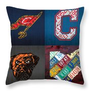Cleveland Sports Fan Recycled Vintage Ohio License Plate Art Cavaliers Indians Browns And State Map Throw Pillow