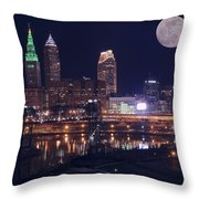 Cleveland With Full Moon Throw Pillow