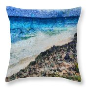 Cliff And Water Throw Pillow