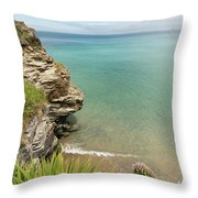 Cliff Edge At St Agnes Throw Pillow