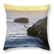 Cliff Jumping To Surf Throw Pillow