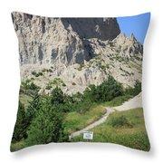 Cliff Shelf Trail In Badlands National Park South Dakota Throw Pillow