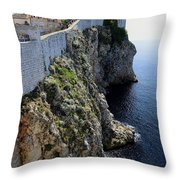 Cliff Top Walls Of Dubrovnik Throw Pillow