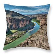 Cliff View Of Big Bend Texas National Park And Rio Grande  Throw Pillow