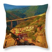 Cliff Village Throw Pillow