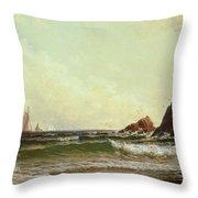 Cliffs At Cape Elizabeth Throw Pillow by Alfred Thompson Bricher