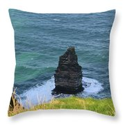 Cliff's Of Moher Needle Rock Formation In Ireland Throw Pillow