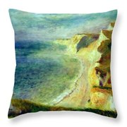 Cliffs On The Coast Near Pourville 1879 Throw Pillow