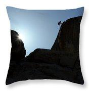 Climbing In Joshua Tree Throw Pillow