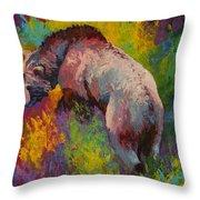 Climbing The Bank - Grizzly Bear Throw Pillow