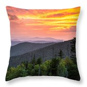 Clingmans Dome Great Smoky Mountains - Purple Mountains Majesty Throw Pillow